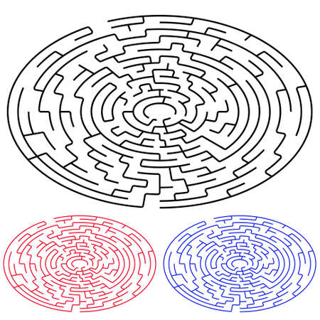 elipse: Negro laberinto elipse sobre un fondo blanco