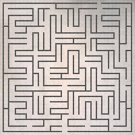 intricacy: Black square maze-mosaic (22x22) on a gray background Illustration