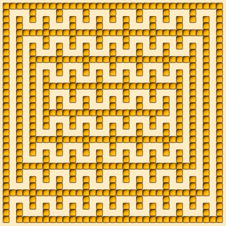 intricacy: Orange square maze-mosaic (16x16) on a orange background