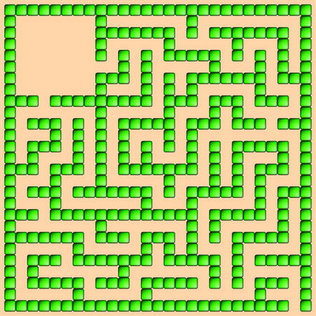 intricacy: Green square maze-mosaic (13x13) on a pink background