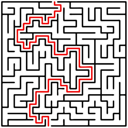 brainteaser: Black square maze (20x20) with help on a white background Illustration