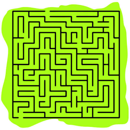 brainteaser: Black square maze (20x20) on a green background Illustration
