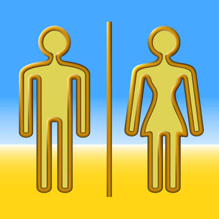 copper wire: Man and woman out of copper wire on a blue and yellow background