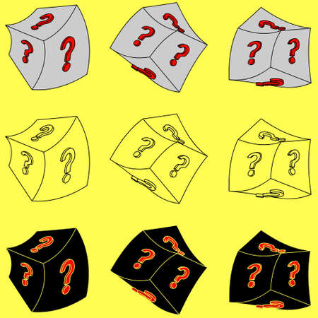 question mark: Set W�rfel mit einem Fragezeichen auf einem gelben Hintergrund