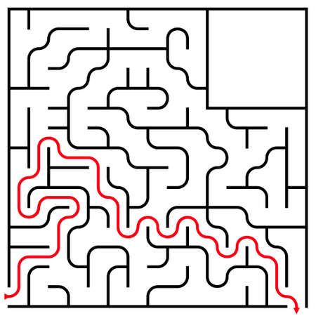 brainteaser: Black square maze (15x15) with help on a white background
