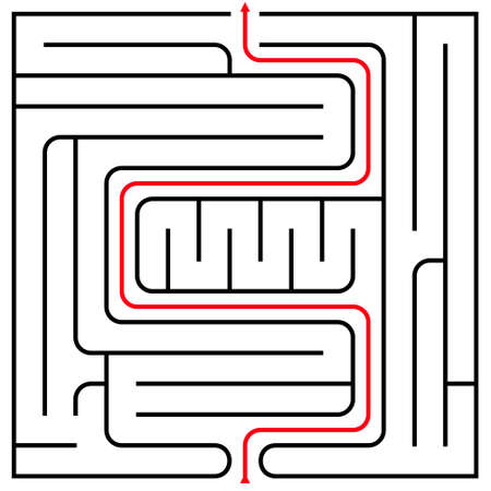 intricacy: Black square maze (15x15) with help on a white background