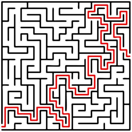 白い背景の上の助けを借りて黒正方形迷路 (20 × 20)