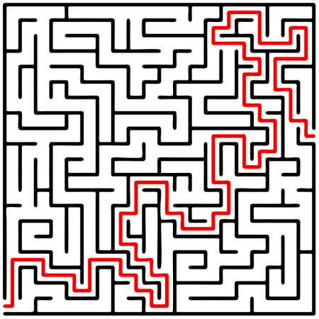 maze game: Black square maze (20x20) with help on a white background Illustration
