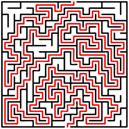 maze: Black square maze (20x20) with help on a white background Illustration