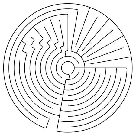 conundrum: Black round maze on a white background