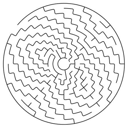 intricacy: Black round maze on a white background