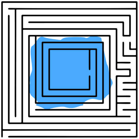 intricacy: Black square maze (20x20) on a white background