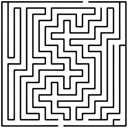 Black square maze (20x20) on a white background
