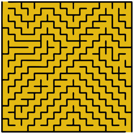 conundrum: Black square maze (20x20) on a brown background Illustration