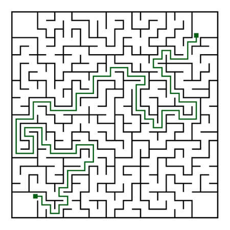 conundrum: Black square maze(24x24) with help on a white background