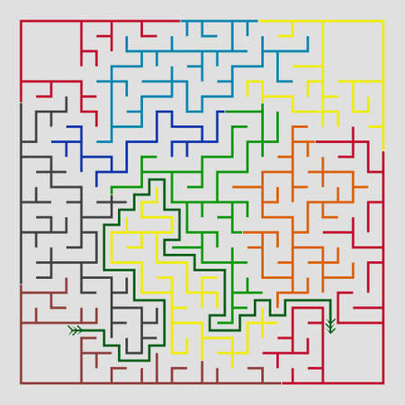 conundrum: Many-colored square maze(24x24) with help on a gray background Illustration