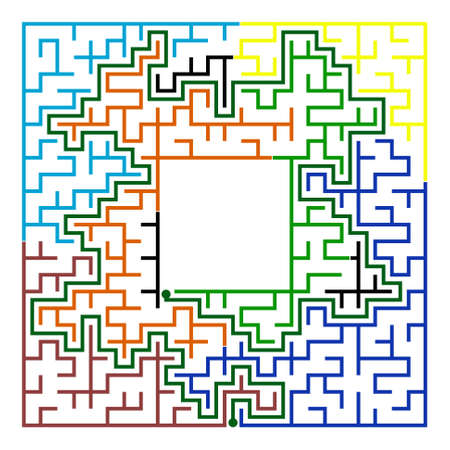 conundrum: Many-colored square maze(24x24) with help on a white background