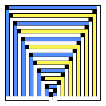 conundrum: Many-colored square maze(24x24) on a white background Illustration