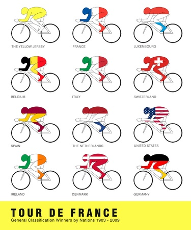 ireland flag: Cyclists from 11 nations have wore the famous Yellow Jersey in the Tour de France. Stock Photo