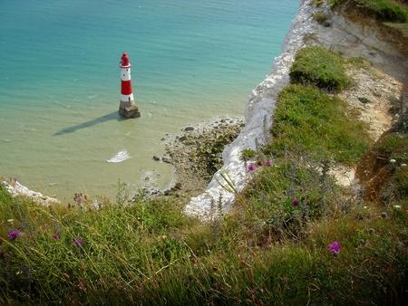 Beachy Head Lighthouse, Dover White Cliffs, England photo