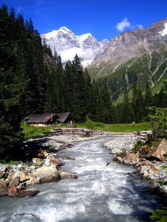 Rapid stream in a vally near Gimmelwald in the Swiss Alps Stock Photo - 10845862