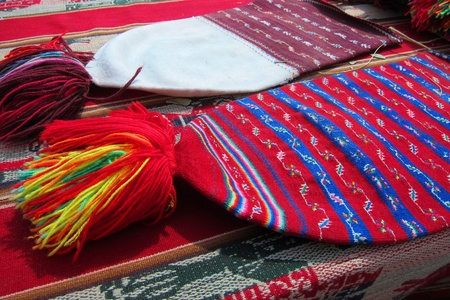 Traditional Peruvian hat weaved with colorful wool