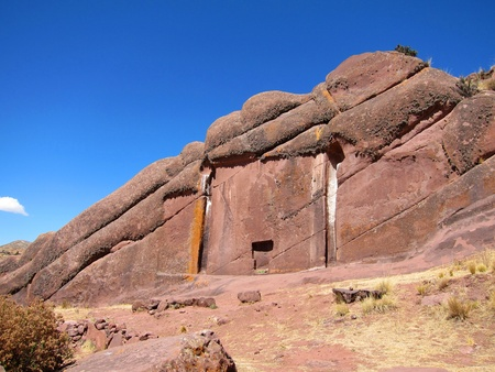 Hayu Marca, the mysterious stargate and unique rock formations near Puno, Peru               版權商用圖片