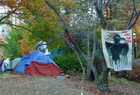 nonviolent: TORONTO - NOVEMBER 05: Tents of Occupy Toronto at St. James Park on Nov 05, 2011 in Toronto, Canada