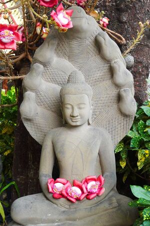 Buddha statue and flower offerings in Phnom Penh, Cambodia photo