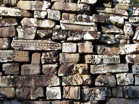 Ancient bricks of Bayon Temple, Angkor, Cambodia