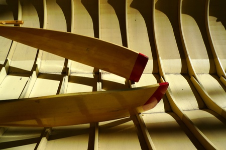 structure: Structure of a canoe boat with paddles