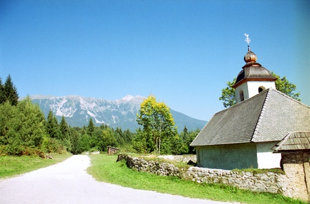 Countryside in Slovenia s Julian Alps, near Bled