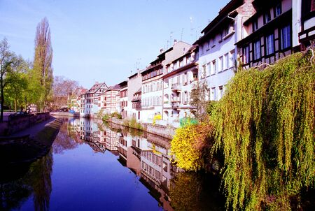 Water canal and timber houses at Strasbourg, France