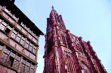 Cathedral and timber frame building at Strasbourg, France photo