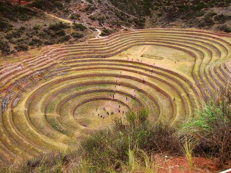 Ancient Inca agricultural site at Moray, Peru        Stock Photo