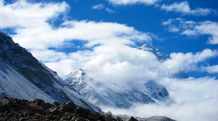 North Everest Base Camp in Tibet with Everest at the background photo