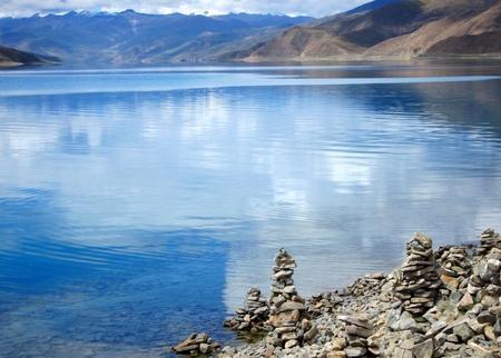 Beautiful holy water of Yang Zhuo Yong Lake in Tibet
