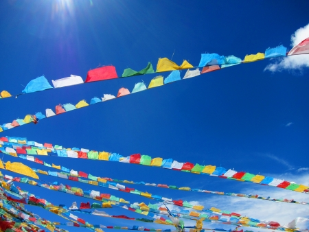 Lama Buddhist prayer flags in the highlands of Tibet photo