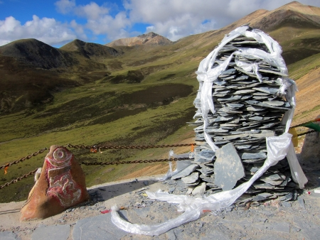 White prayer scarf in the highlands of Tibet
