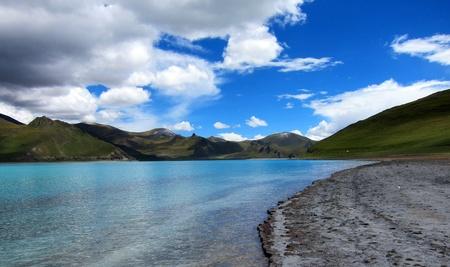 holy water of Yang Zhuo Yong Lake in Tibet