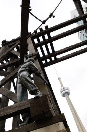 CN Tower and Chinese Railroad Worker Monument at Downtown Toronto, Canada