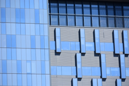 sleek: blue building exterior cladding panels Stock Photo