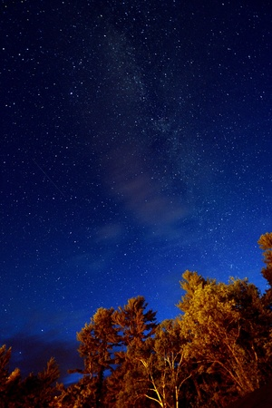 stargazing: Night sky with stars and Milky Way Stock Photo