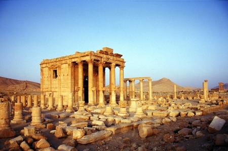 시리아 팔미라의 고대 사막의 오아시스 도시 스톡 콘텐츠