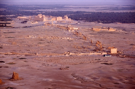 Ancient desert oasis city of Palmyra in Syria photo