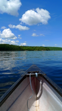 paddler: Canoe trip in lake with blue sky Stock Photo