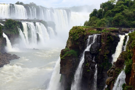 Iguazu Falls, the famous waterfall in the world at the border of Argentina and Brazil