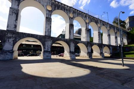 Carioca Aqueduct, a historical colonial structure in Lapa District of Rio de Janeiro, Brazil 版權商用圖片