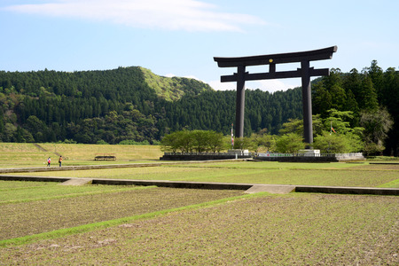 Oyunohara Torii, the largest torii in the nation, at Oyunohara sandbank where the original Hongu Taisha stood, at Hongu, the main destination of Kumano Kodo in Kii Mountains, Kansai, Japan