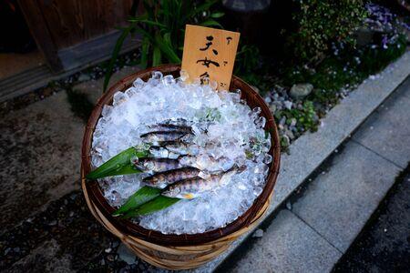 Small fish for grill in Hanami festival, Mount Yoshino, Japan